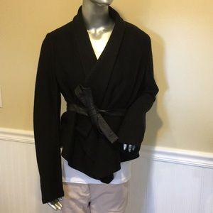 Theory wool blend wrap jacket with leather tie